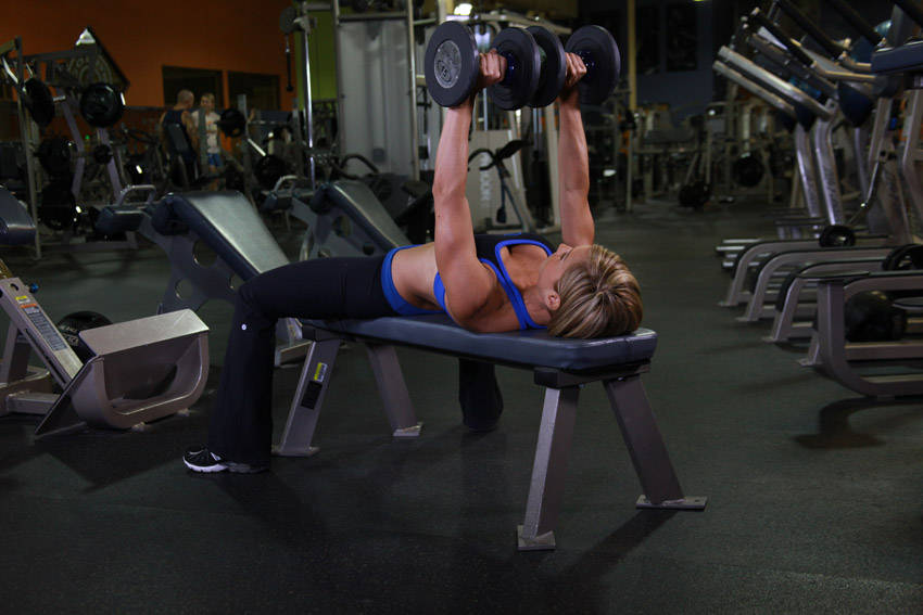 Image result for dumbbell flat bench women