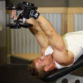 Declinar la pesa de extensión de tríceps
