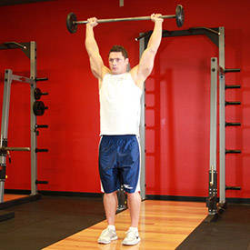 Standing Barbell Press Behind Neck