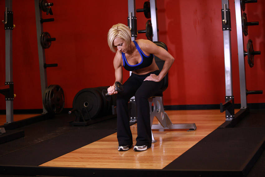 Seated One Arm Dumbbell Palms Down Wrist Curl Exercise