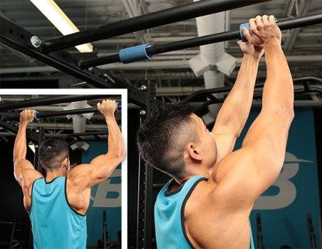 thick bar grips being applied to a pull up bar