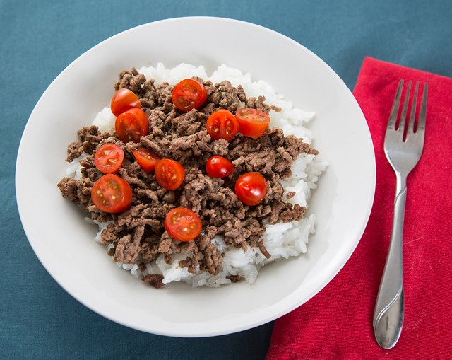 Ground meat and rice