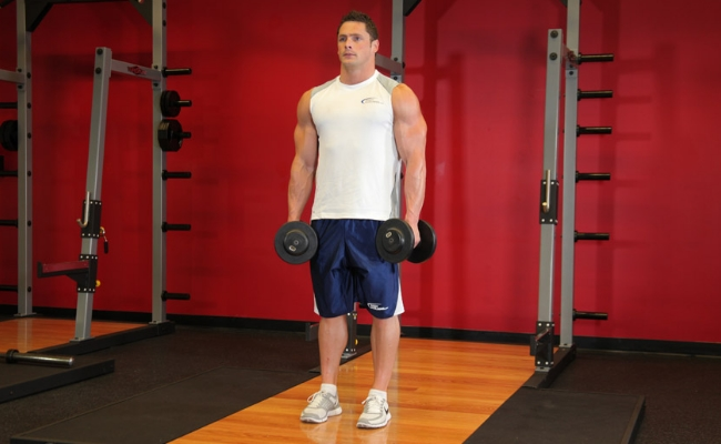 Hold Dumbbells And Take The Position