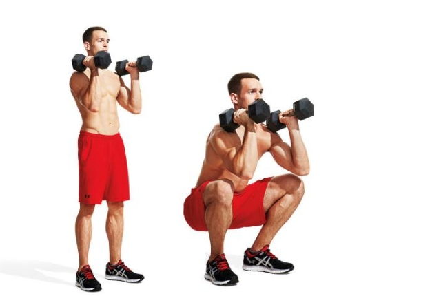 Deep Squat With Dumbbell Raise