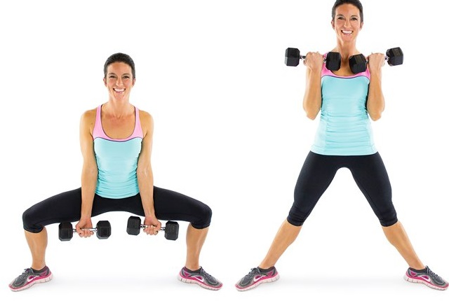 Sumo Squats With Bicep Curls