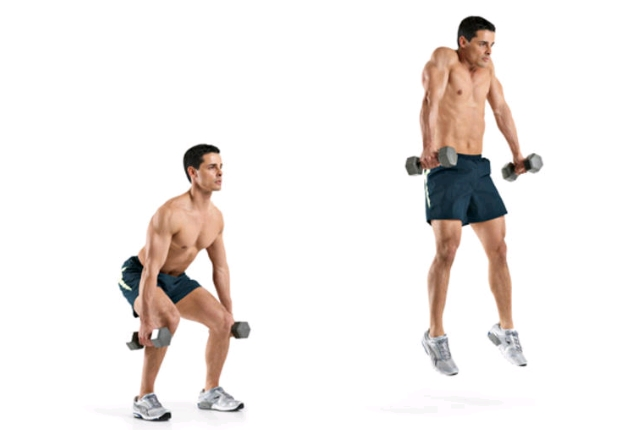 Dumbbell Jump Shrug: