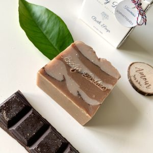 chocolate bar with cacao soap bar
