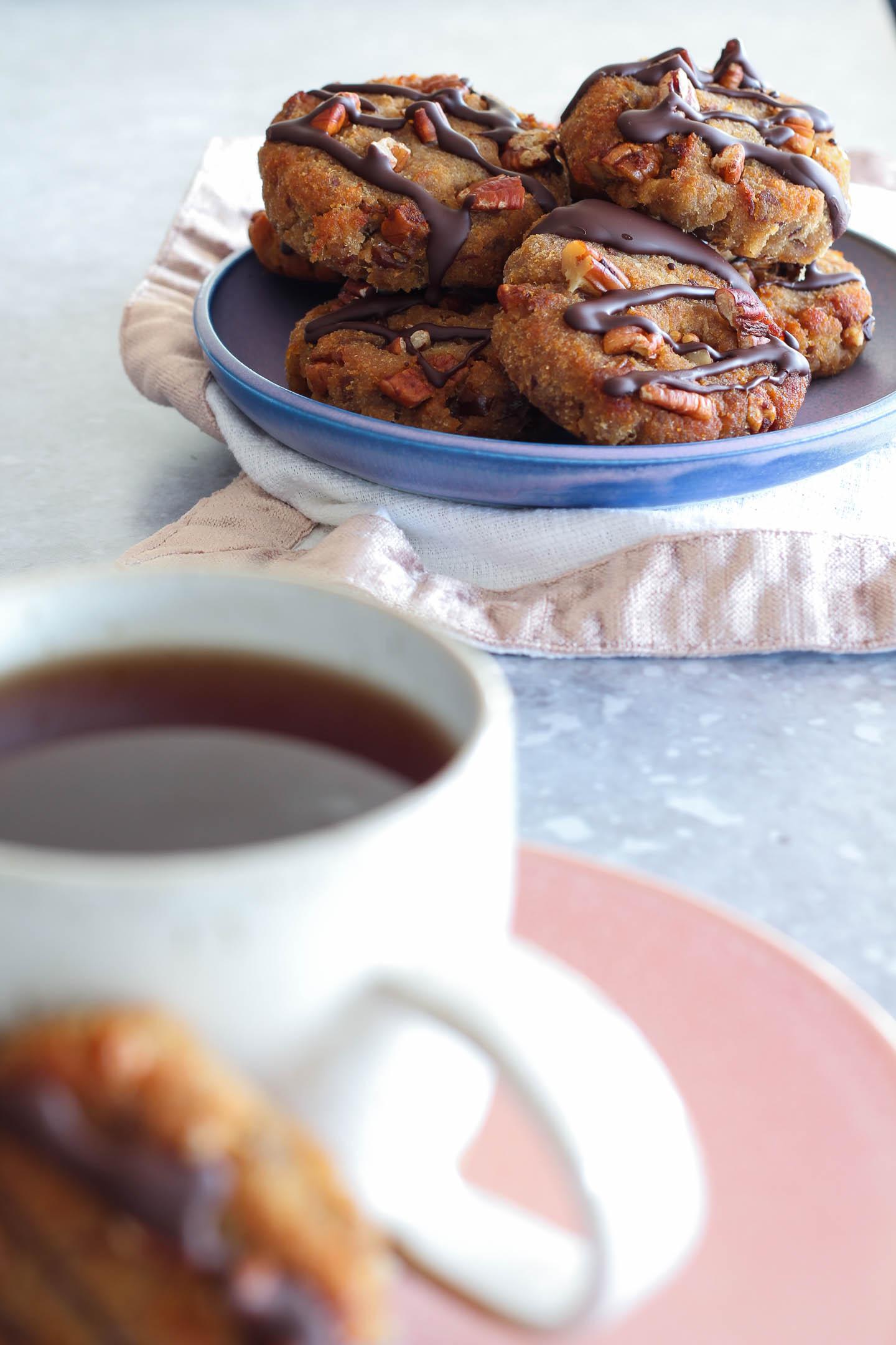 Banana Date and Pecan Collagen Cookies served with tea