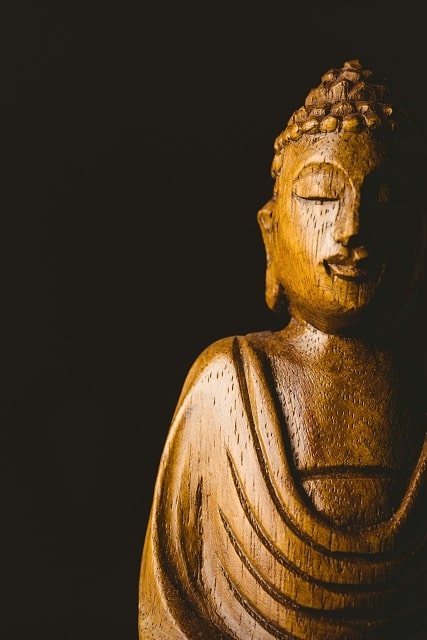 wooden buddha statue shot in studio P5GMHAX scaled min