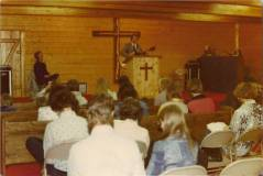 Early church service in Building 1