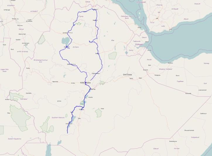 Gesamtreiseroute Äthiopien