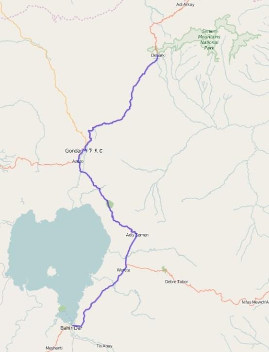 Reiseroute Äthiopien 16.02.2016