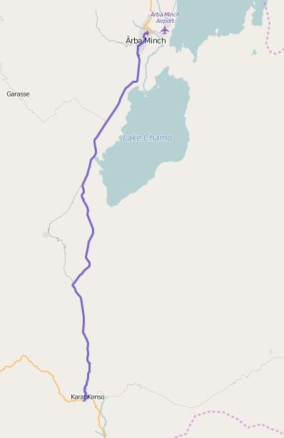 Reiseroute Äthiopien 31.01.2016