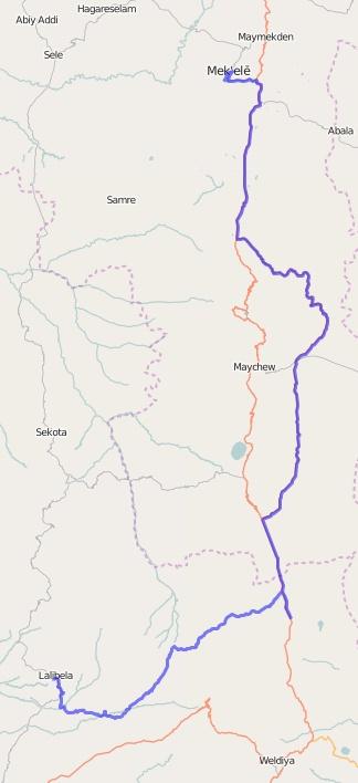 Reiseroute Äthiopien 22.02.2016
