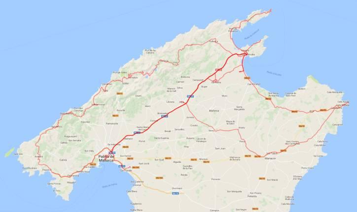 Gesamtreiseroute Mallorca 2018