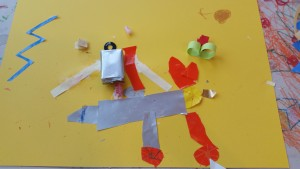 De grote is een vliegtuig en daarboven zijn twee robots