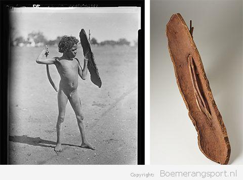 Arrernte aboriginal jongen met boemerang en schild (1920-1924)