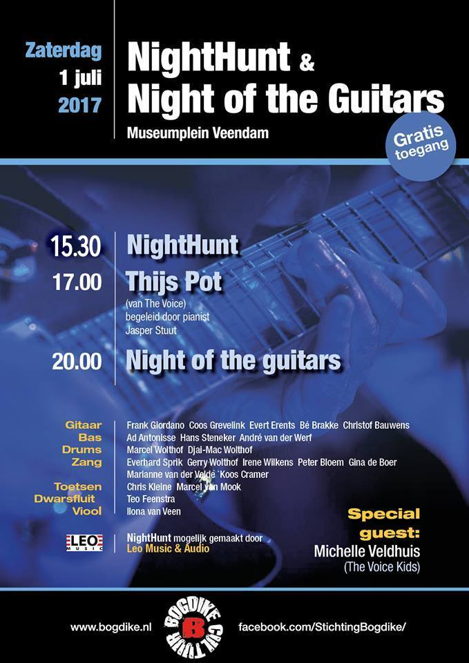 NightHunt, Thijs Pot en Night of the guitars, zaterdag 1 juli 2017 Museumplein Veendam