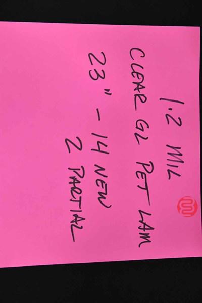 1.2 Mil Clear GL Pet Lam 23in (16 Rolls) - 090121083801