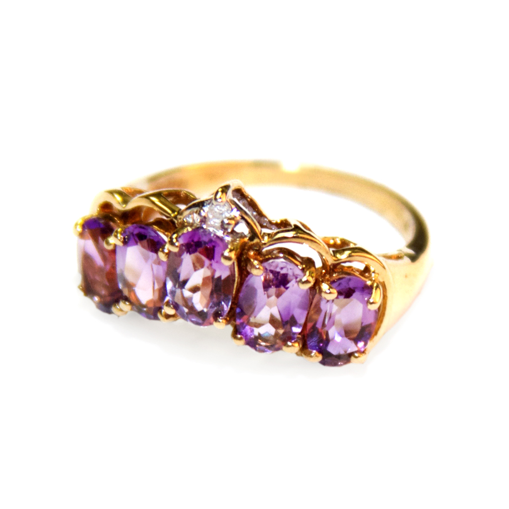 Birthstone Jewelry Natural Golden Orange Citrine 13ct Amethyst Gemstone Ring 5 Stones 135 Total Wt With A 10ct Diamond In 14 Kt Gold Setting 265