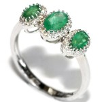 Three emerald, .95ct., held in a 14kt. white gold setting. $699