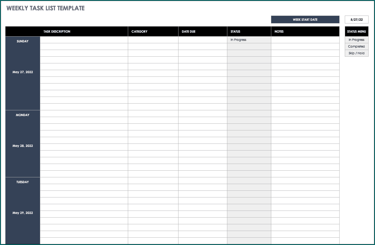 Free Printable Project Task List Template Excel