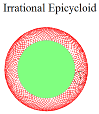 Irrational Epicycloid with Javascript