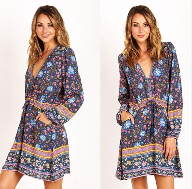 915ad1a0c14 Boho-short-Dresses-2017-lantern-long-sleeve-cotton-ethnic-Floral ...