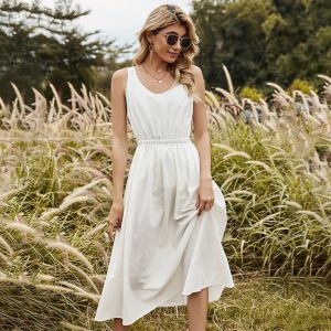 White casual spring summer dress
