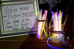wedding reception with glow sticks