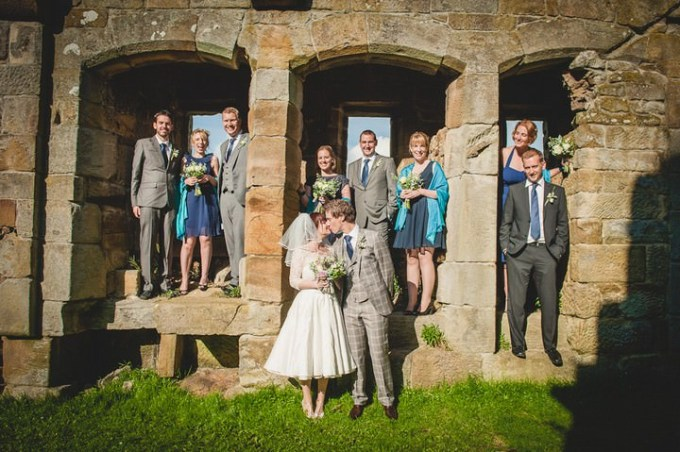 bride and groom at Danby Castle