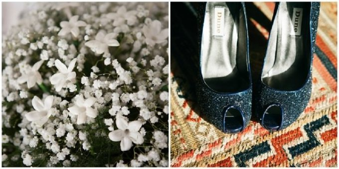 bridal bouquet and blue Dune wedding shoes