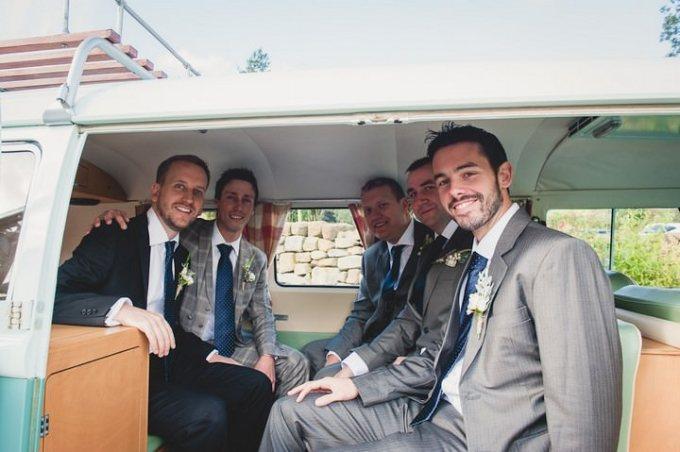 groomsmen in VW Camper van
