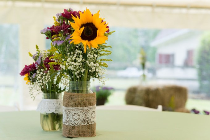 3 Burlap, Sunflowers and Hay Bale Wedding