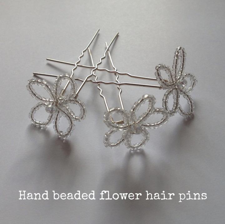 DIY Tutorial Hand Beaded Flower Hair Pins Boho Weddings