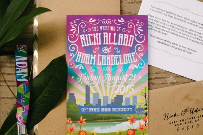 Camp Wedding invite in Massachusetts By Carlyn K Photography