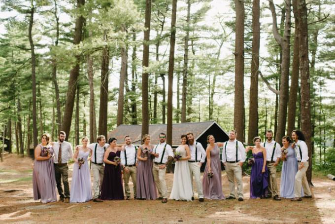 Camp Wedding bridal party in Massachusetts By Carlyn K Photography