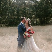 Anna and Nate's 'Boho Chic' Peony Filled Backyard Wedding by Provencher Photography