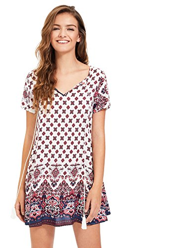 OEUVRE Womens Short Sleeve Floral Printed Ethnic Style Loose Casual Tunic  Dress 47c9afdf4