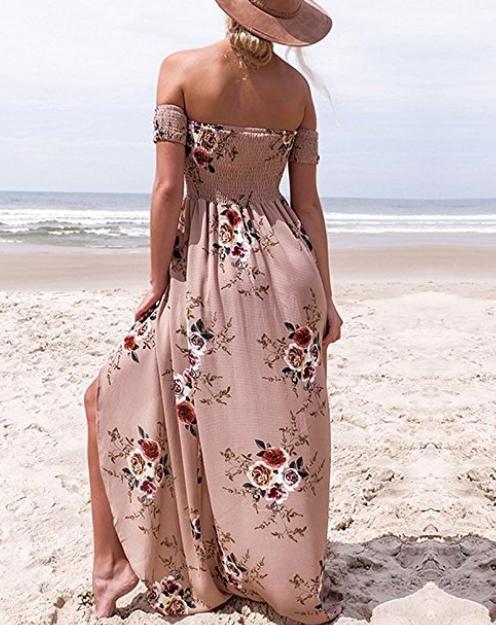 fe3775471cc6 Vansha Women s Boho Off Shoulder Strapless Summer Beach Floral Slit Maxi  Dress