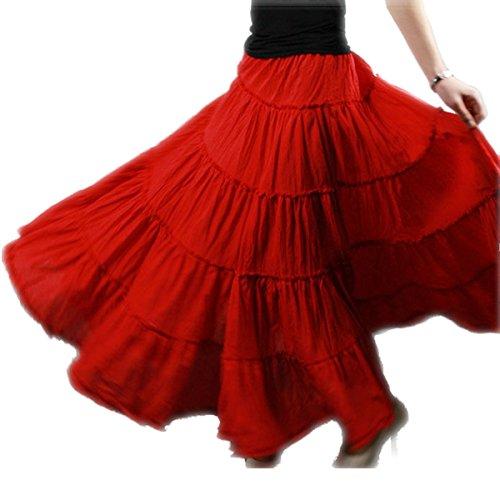 Vateno Boho Gypsy Skirt For Women Maxi Plus Size Skirt Pleated Skirt