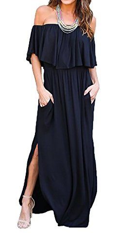4f70fd022b Sarin Mathews Womens Off The Shoulder Ruffle Party Dress Casual Side Split  Beach Long Maxi Dresses with Pockets