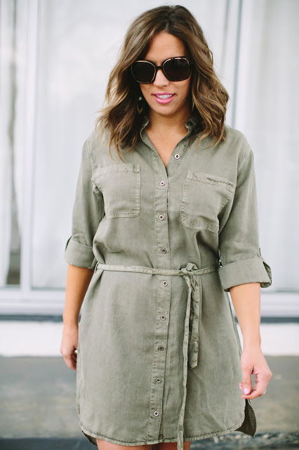 {CHAMBRAY SHIRT DRESS}