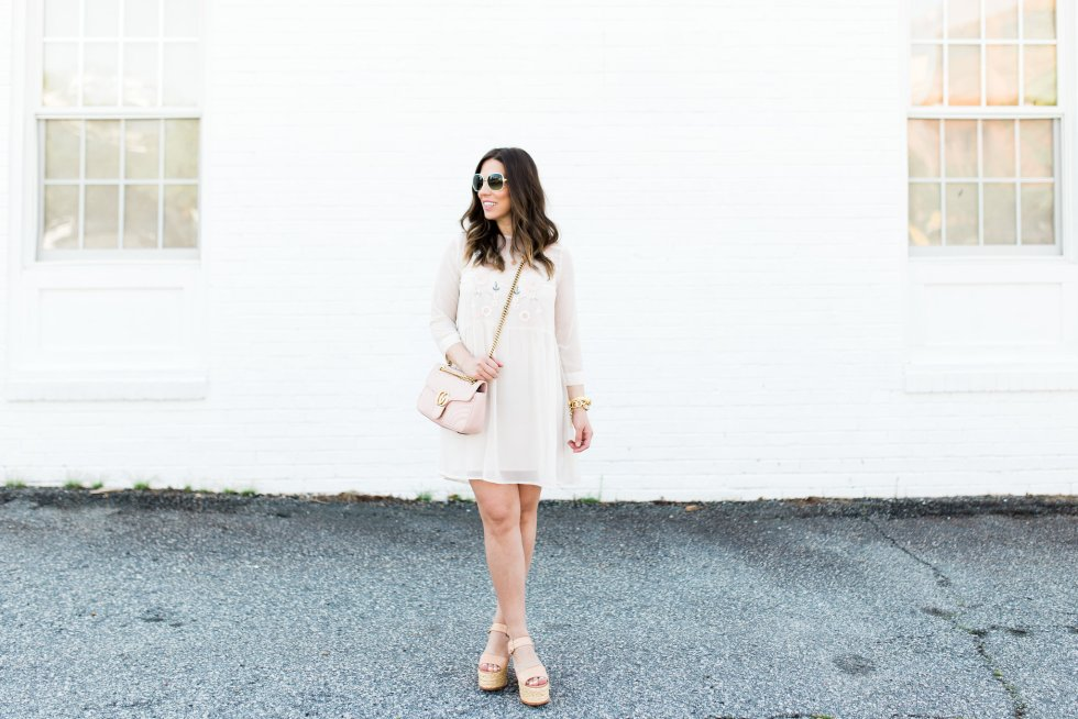asos floral dress and gucci marmont
