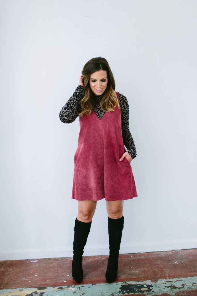 DUSTY ROSE SUEDE DRESS + OTK BOOTS