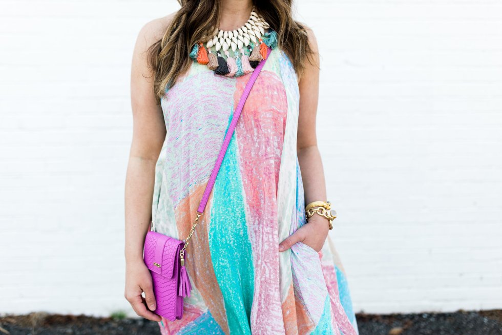 anthro annette dress and statement necklace