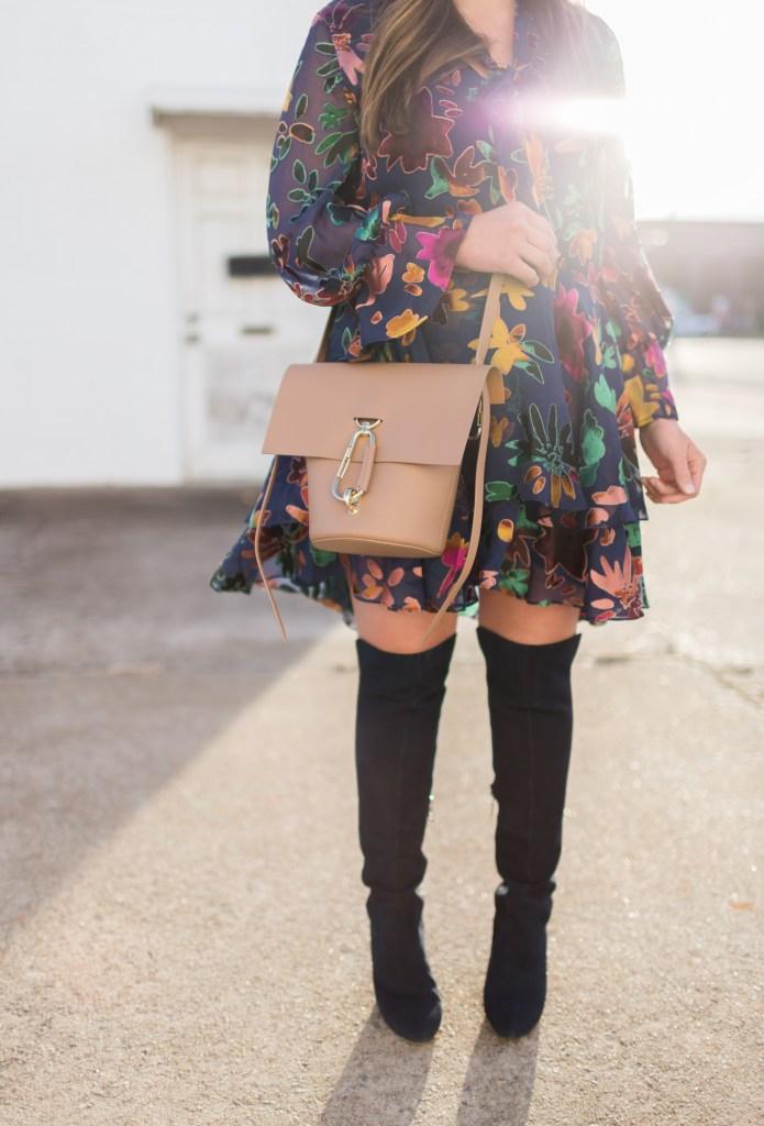 WINTER STYLE: RUFFLE VELVET FLORAL DRESS