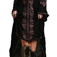 R.Vivimos(TM) Women Cotton Embroidery Loose High Low Long Dresses