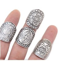 SUNSCSC Silver Pack of 4 Vintage Tribal Indian Mayan Calendar Aztec Band Rings