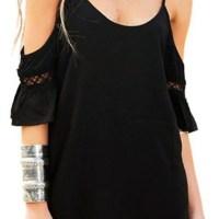 Persun Women Cold Shoulder Lace Trumpet Sleeve Spaghetti Strap Dress Tops